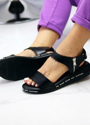 Чёрные натуральные кожаные босоножки/сандали полоски 36-407 фото