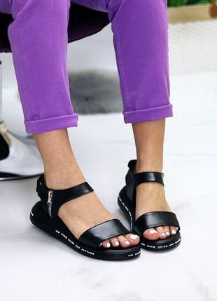 Чёрные натуральные кожаные босоножки/сандали полоски 36-404 фото