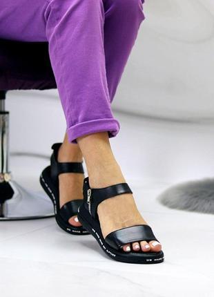 Чёрные натуральные кожаные босоножки/сандали полоски 36-40