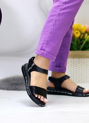 Чёрные натуральные кожаные босоножки/сандали полоски 36-405 фото