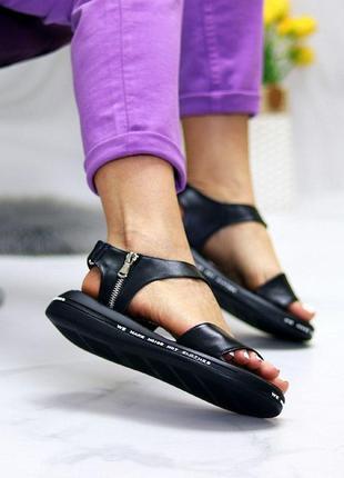 Чёрные натуральные кожаные босоножки/сандали полоски 36-406 фото