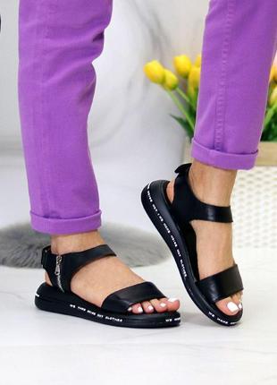 Чёрные натуральные кожаные босоножки/сандали полоски 36-403 фото