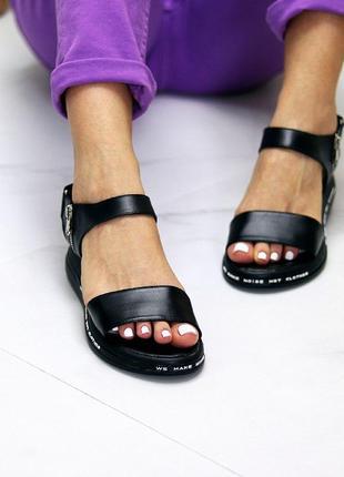 Чёрные натуральные кожаные босоножки/сандали полоски 36-402 фото