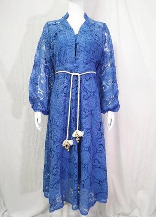 Шикарное голубое платье васильковое