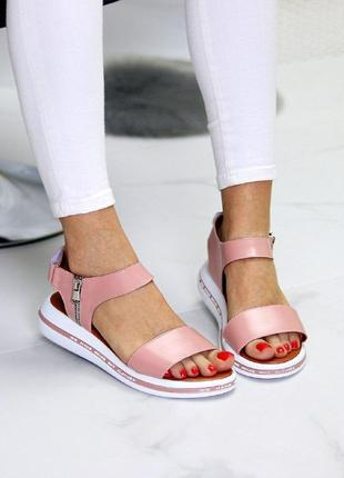 Розовые/пудровые  натуральные кожаные босоножки/сандали полоски 36-405 фото