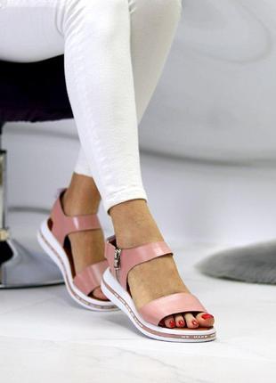 Розовые/пудровые  натуральные кожаные босоножки/сандали полоски 36-40
