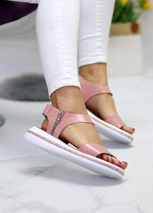 Розовые/пудровые  натуральные кожаные босоножки/сандали полоски 36-406 фото