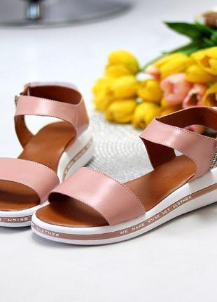 Розовые/пудровые  натуральные кожаные босоножки/сандали полоски 36-407 фото