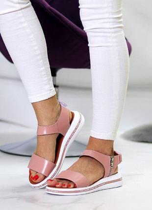 Розовые/пудровые  натуральные кожаные босоножки/сандали полоски 36-403 фото