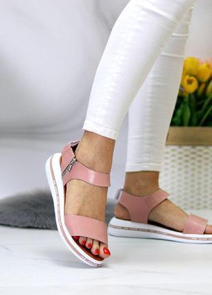 Розовые/пудровые  натуральные кожаные босоножки/сандали полоски 36-404 фото