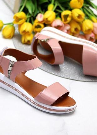 Розовые/пудровые  натуральные кожаные босоножки/сандали полоски 36-408 фото