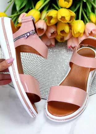Розовые/пудровые  натуральные кожаные босоножки/сандали полоски 36-409 фото