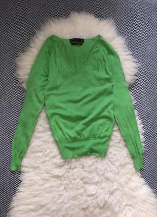 Шёлковый свитер джемпер шёлк кофта реглан вырещ тренд зелёный яркий