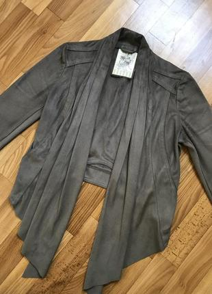 Укороченный замшевый кардиган, жакет, пиджак
