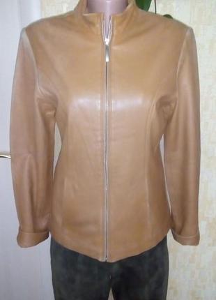 Отличная кожаная куртка из натуральной мягчайшей телячьей кожи жакет пиджак кожаная куртка