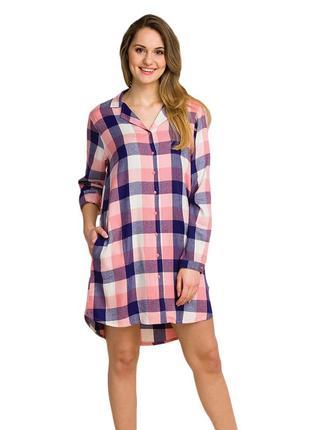 Ночная женская сорочка из вискозы в клетку key lnd 405 b20