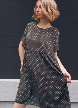 Легкое платье в горох, коричневое платье миди оверсайз, свободное, базовое удобное платье