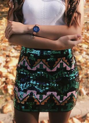 Мини юбка с пайетками