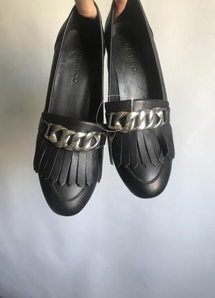 Кожаные туфли черные bianco на широком каблуке10 фото