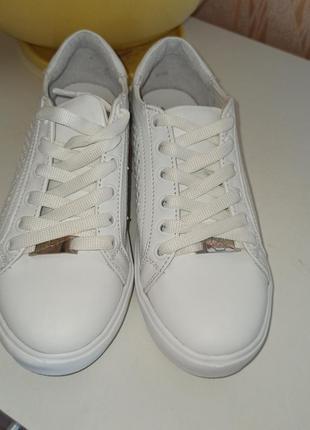 Кожаные белые кеды