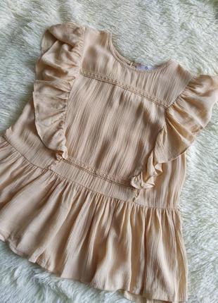 Нежная ажурная персиковая блуза с короткими рукавами loststock