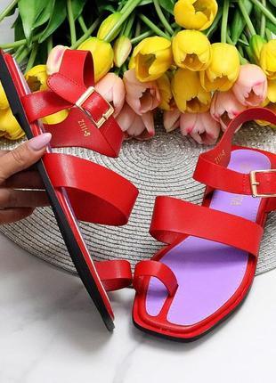 Стильные красные женские босоножки вьетнамки через палец лето 2021   код 10267