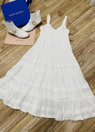 Платье из прошвы, белое ярусное платье lindex