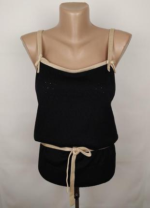 Блуза кофточка красивая шелковая с завязкой 70% шелк m