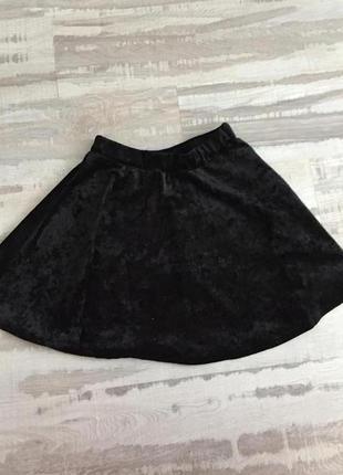 Бархатная юбка чёрного цвета