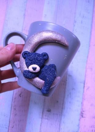 Чпшка с мишкой из полимерной глины