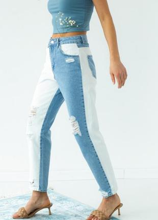 Двухцветные джинсы с рваной отделкой4 фото