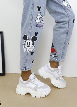 Кроссовки комбинированые на массивной подошве, хитовые кроссовки 2021