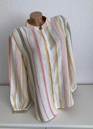 Льняная рубашка блуза marks & spencer