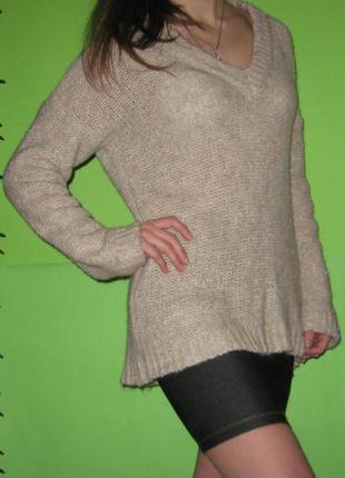 Светр в'язаний теплий свитер вязаный зара zara knit v-виріз, розмір м/л
