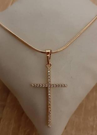 Женский крестик с камнями xuping, позолота, медзолото, хрестик