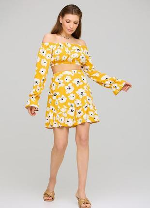 Летний💛костюм с юбкой и коротким топом блузой желтый в цветок 3 цвета
