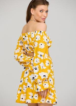 Летний💛костюм с юбкой и коротким топом блузой желтый в цветок 3 цвета4 фото