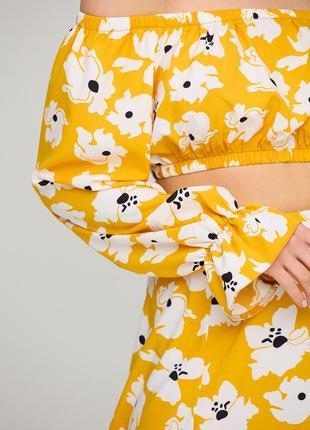Летний💛костюм с юбкой и коротким топом блузой желтый в цветок 3 цвета3 фото