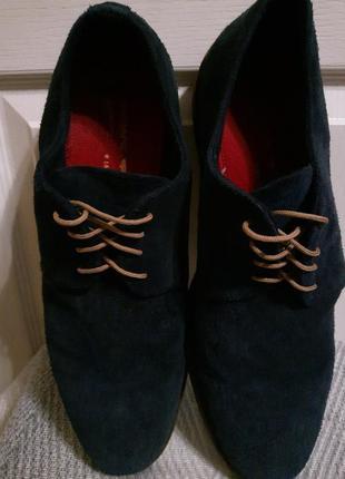 Мужские замшевые кожаные туфли броги red tape синего цвета . 44-45 размер - 30 см по стельке