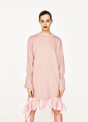 Розовое платье - байка zara, s