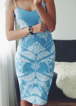 """Голубое платье миди с вырезом """"сердечко"""" и белым кружевом код товара: 11868"""