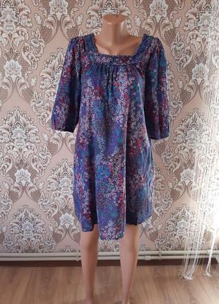 Свободное легкое платье принт цветы хлопок котон