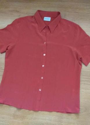 100% шовк. літня легенька блуза-сорочка canda (голандія), р. 42 (хl)