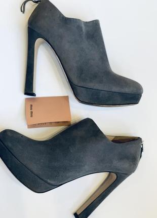 Туфли, замшевые ботильоны miu miu / брендовая обувь