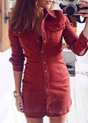 Распродажа настоящее джинсовое платье‑рубашка asos рыже-красноe в cтиле вестерн