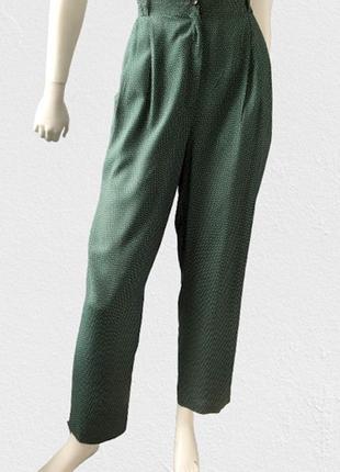 Зауженные брюки с высокой посадкой в мелкий горошек бренда joymiss, италия (нюанс)