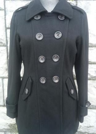 Чорне фірмове шерстяне пальто (atmosphere)