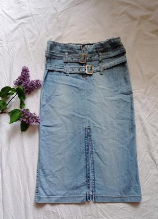 Юбка джинсовая миди шикарная с разрезами эффектная
