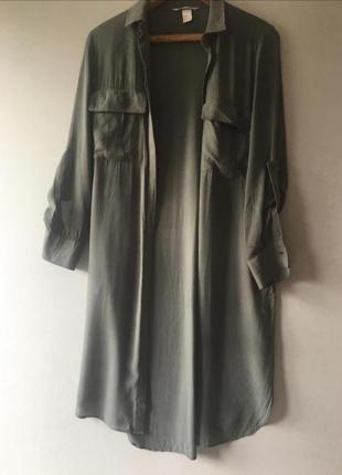 Платье h&m рубашка хаки