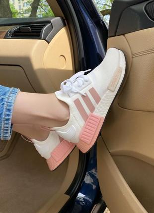 Кроссовки nmd white & pink кросівки